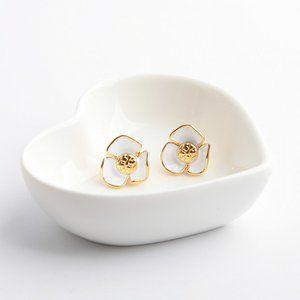 Tory Burch White Enamel Glaze Flower Earrings